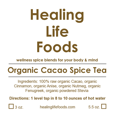 Healing Life Foods - cacao spice tea label