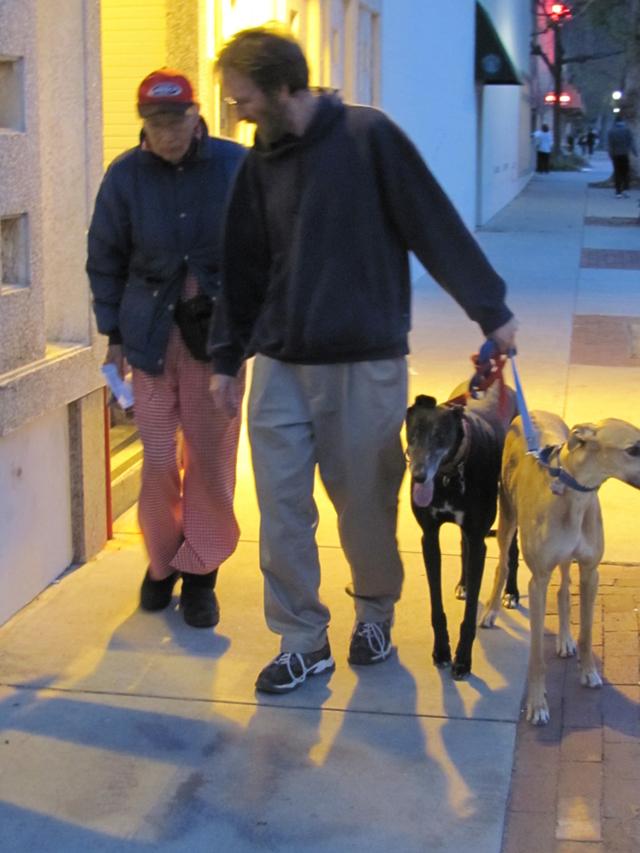 Daddy and Dan walking in Claremeont