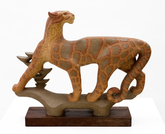 ceramic sculpture of a snow leopard by Betty Davenport Ford